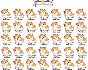Kawaii Guinea Pig / Hamster Cage Cleaning Planner Stickers! - Orange & White Version -
