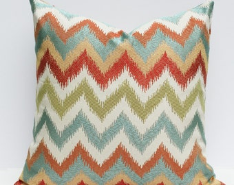 Multi-color Chevron Ikat Pillow Cover - Red, Teal, Tan, Oranges 18 x 18
