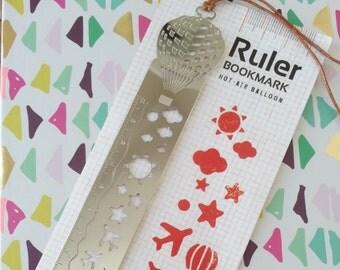 Ruler bookmark template drawing balloon