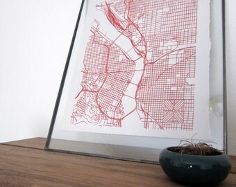 Portland Street Grid Map - Red on Pearl White
