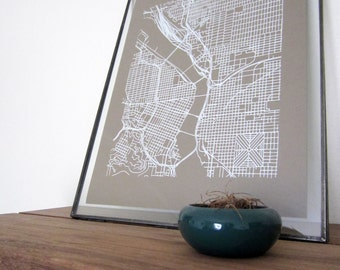 Portland Street Grid Map - White on Sable Brown