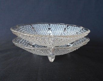 Vintage Decorative Footed Hobnail Glass  Dishes  - Set of Two