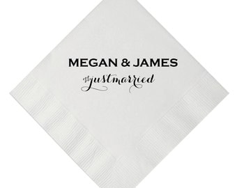 Just Married Hashtag Personalized Wedding Napkins