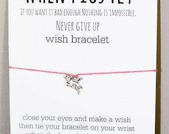 When Pigs Fly Wish Bracelet
