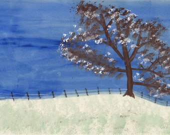 Winter Tree with Fence set of 4 cards