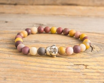 Frosted mookaite beaded stretchy bracelet with silver Buddha, custom made bracelet, mens bracelet, womens bracelet