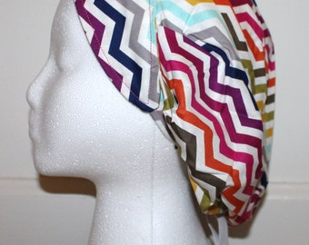 Rainbow Chevron Bouffant Scrub Hat