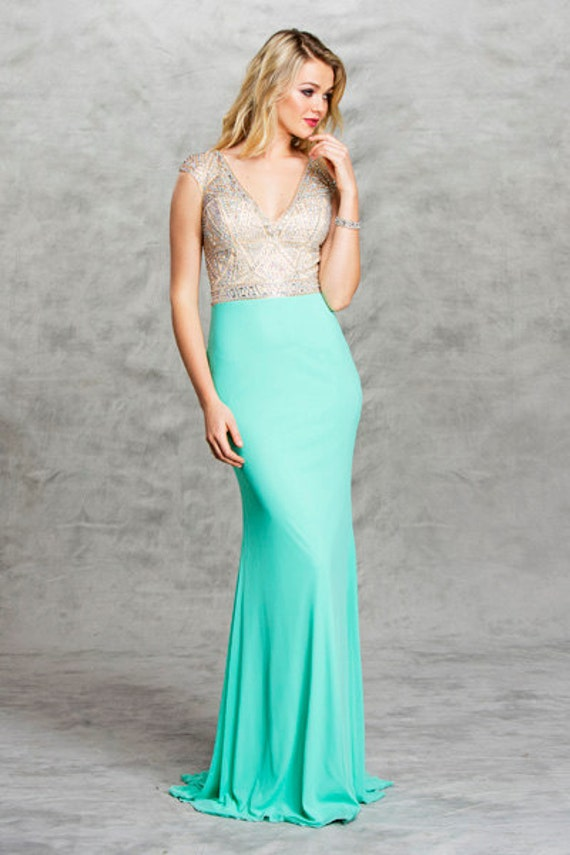 Mint bridesmaid made of honor prom long green dress for Made of honor wedding dress