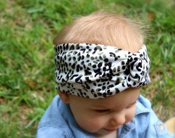Turban Headband leaopard black and sage, Baby Turban Headband, Baby Headwrap, Turban Headband, Adult Turban,  Adult Headwrap