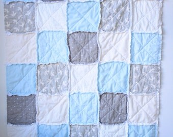 Blue gray rag quilt - Baby boy rag quilt - Crib rag quilt
