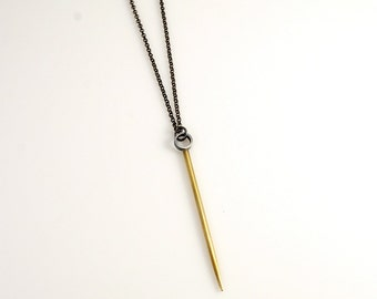 Long Silver & Brass Spike Necklace