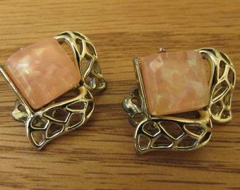 Vintage Coro Clip Earrings, Shimmering Pink