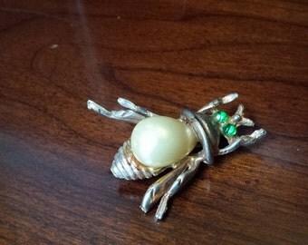 Pearl & Emerald Bee Brooch
