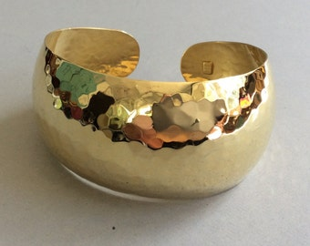 Itaor Sterling Silver Hand Hammered Vermeil Cuff Bracelet Made in Italy