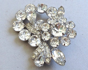 Eisenberg Rhinestone and Rhodium Pin/Brooch