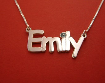 Birthstone Name Necklace Swarovski Name Necklace Birthday Gift Emily Name Necklace With Name Plate Necklace Name Chain Gift Necklace For Her