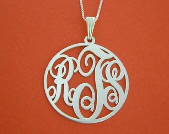 Circle Monogram Necklace White Gold Circle Monogram Necklace Xmas Gift 3 Initial Necklace Gifts For Her Mongram Necklaces Monogram Necklaces