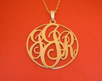 14kt Gold Monogram Necklace Custom Monogram Necklace 3 Initials Monogram Circle Monogram Round Monogram Monogram 1.25 Inch Monogram Necklace