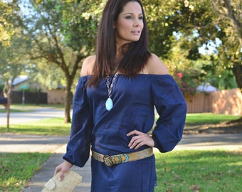 Navy Royal Blue Linen & Lace Off-the-Shoulder Dress / Tunic