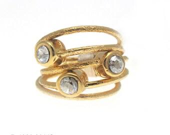 Set of 5 Stacking Ring Swarovski Crystal Statement Ring 24k Gold Ring Ring Set Sparkling Ring Boho Ring Swarovski Rings Rings Set