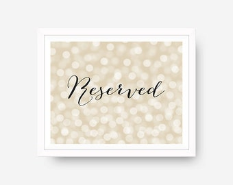 Wedding Reserved Sign Wedding Decor Reserved Table Sign Bokeh Wedding Reserved Printable Wedding Sign