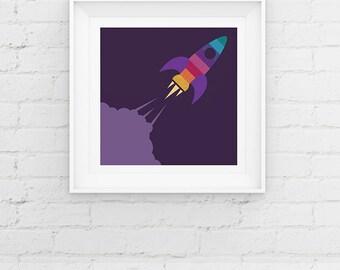 Space Rocket Nursery Art Print Contemporary Children's Baby Giclee Art Print