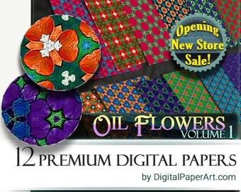 Oil Flowers Digital Paper pack. Floral digital paper.Floral scrapbooking paper.Instant Download decoupage paper.Commercial Use digital paper