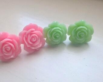 Pink earings green earrings green earings set of two pink and green mint earrings mint earings flower earrings rose earings gift idea Two