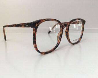 Vintage Glasses Frames - Oversized Eyeglasses - Tortoise Brown Black Amber Clear Eyeglass Frames - Clear Lens Demo Lenses - Deadstock NOS 96