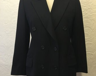 Beautiful Escada Black Double Breasted Blazer Size 34