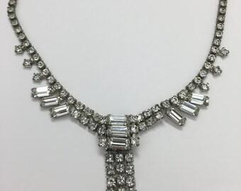 Vintage Jewelry- Vintage Rectangle Design Rhinestone Necklace