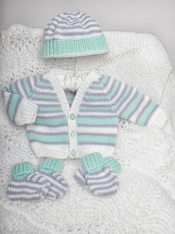Premature Baby Booties Knitting Pattern : Pdf knitting pattern download for premature baby cardi hat