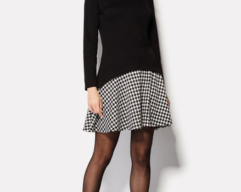 Office dress with houndstooth peter pan collar Houndstooth dress Collared dress Peter pan collar Dogtooth Pied de poule dress Border tartan