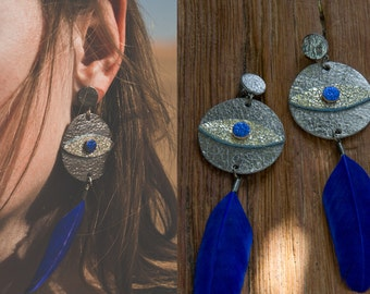SILVER LEATHeR feather earrings / EVIL EYE // genuine Leather on Anti-allergic surgical steel studs // sparkling leather