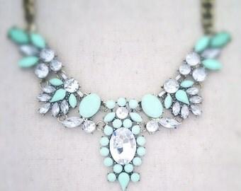 Mint green statement necklace, mint green necklace, mint statement necklace, green statement necklace, gold statement necklace