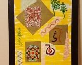Yoga Studio Decor - Reiki Painting - Meditation Painting - Chakra Painting - Collage Art  - Lotus Flower Painting - Yoga Wall Art - Zen Art