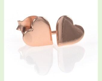 Rose Gold Heart Earrings, Heart Earrings, Heart Stud Earrings, Stud Earrings, Studs, Rose Gold, Rose Gold Studs, Rose Gold Earrings Stud