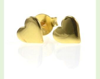 Gold Heart Earrings, Heart Earrings, Heart Stud Earrings, Stud Earrings, Studs, Gold, Gold Studs, Gold Earring Studs, Gold Stud Earrings
