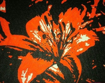 Orange lily hand painted canvas