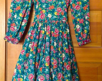 Vintage Wee Clancy Cotton Print Dress Girls Size 10