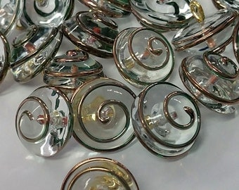 Czech Clear Glass Copper Swirl 14mm / one half inch round Vintage Button