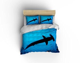 Hammer Head shark duvet covers, home decor, bedding, comforter covers, bedroom decor,graphic print bedding, shark bedding,hammer head sharks