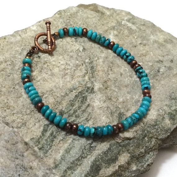Mens Native American Beads: Natural Turquoise Bracelet Native American Jewelry By