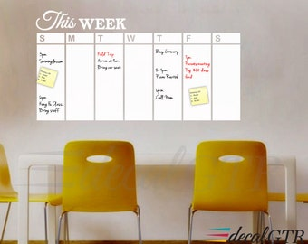Dry Erase Weekly Calendar Decal   White Board Weekly Planner Organizer Wall  Sticker   Adhesive White Part 40