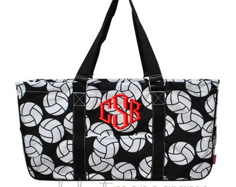 Personalized Monogrammed Collapsible Deluxe Large Utility Tote Bag | VOLLEY BALL | Teacher Gift | Tailgating | Carry All Organizer
