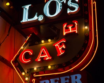 Route 66 Lo's Cafe Sign Route 66 Neon Sign Photo Route 66 Photography Kitchen Wall Art Bar Wall Art Bar Art Retro Decor Graphic Typography