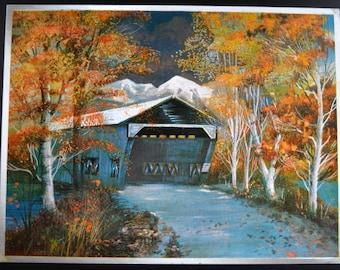 Covered Bridge Silver Foil Print, Duflex Print,  England Print, Hitchen Herts, FJ Warren