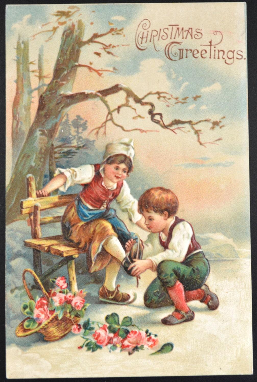 Navidad postales navidad ni os articles antigua tarjeta de - Tarjetas de navidad de ninos ...