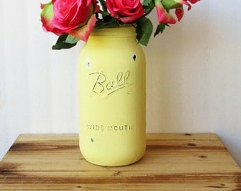 Large Mason Jar / Half Gallon Yellow Painted Mason Jar / Country Chic Decor / Large Yellow Vase / Farmhouse Decor