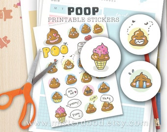 POOP Printable Sticker, Funny Cute Wacky Weird Stupid Shit Poo Feces Dung Doodle, Handdrawn Graphic Clipart Illustration, Instant Download